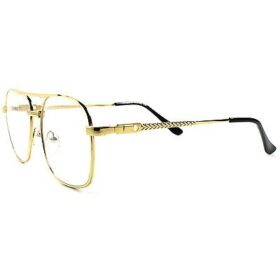 45f6becb9b8 ... Old School Retro Style Hip Hop Mens Womens Nerdy Clear Lens Gold Square  Glasses 2