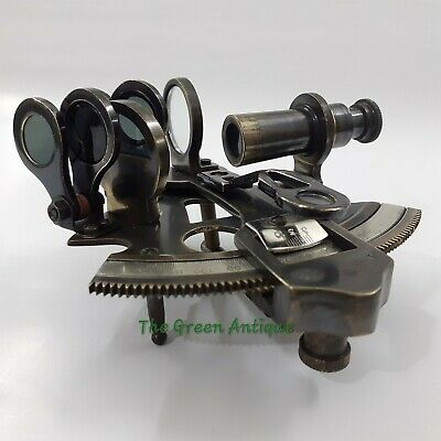 Antique Brass Nautical Sextant Vintage Maritime Collectible 3