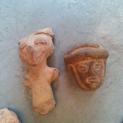 Antique Early Pre Columbian Terra Cota Figure Head South American Lot of 10 瓷 像 6