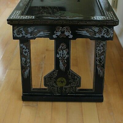 Old Tianjin Chinese Carved Inlaid Coromandel Lacquer Folding Table 3