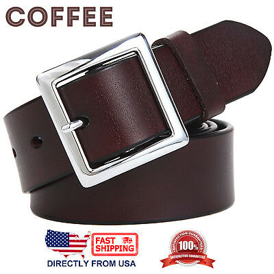 Women's Jean Belt, Classic Square Buckle Handcrafted Genuine Leather Belt 6