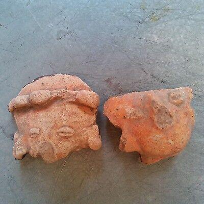 Antique Early Pre Columbian Terra Cota Figure Head South American Lot of 10 瓷 像 10