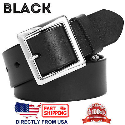 Women's Jean Belt, Classic Square Buckle Handcrafted Genuine Leather Belt 2