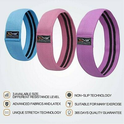 EVO Ladies Fabric Resistance Bands Elastic Exercise & Expanders HIP CIRCLE Glute 3