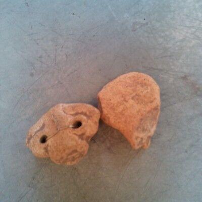 Antique Early Pre Columbian Terra Cota Figure Head South American Lot of 10 瓷 像 9