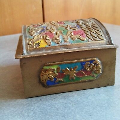 China Antique Cloisonne Brass Box of Dragon  铜 盒 5