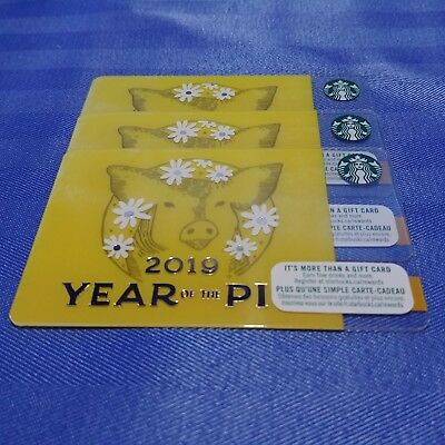 2x STARBUCKS 2019 CHINESE NEW YEAR OF THE PIG Gift Cards In CANADA NEW Loadable 2