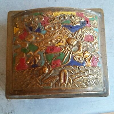 China Antique Cloisonne Brass Box of Dragon  铜 盒 2