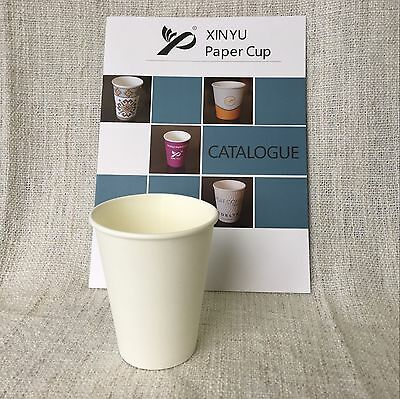 200pcs 12oz Disposable Coffee paper cup White 10.8g Premium Material Takeaway