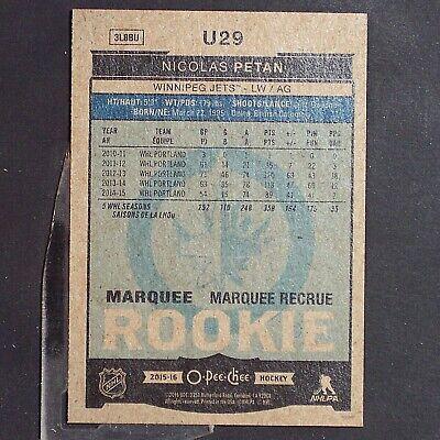 NICOLAS PETAN  RC  2015-16 O-Pee-Chee Update RED #U29  Toronto Maple Leafs  Jets 2