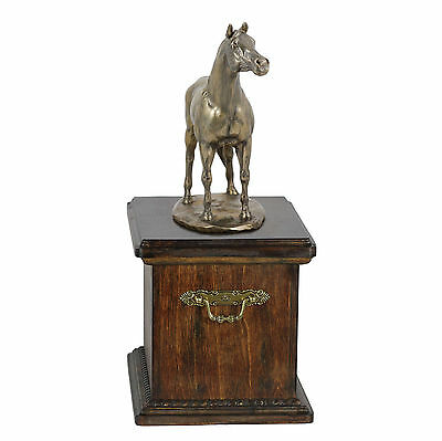 Beautiful solid wood casket with Bronze Statue - Arabian Horse cremation urn (1)