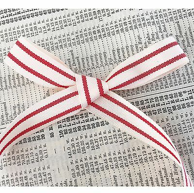 3m Vintage Style Red /& Cream Ticking Stripe Rustic Cotton Ribbon 15mm Christmas