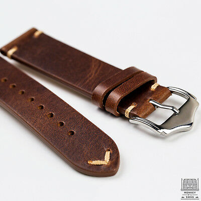 Camel Light Brown Genuine Leather Vintage Style Watch Strap 20mm & 22mm