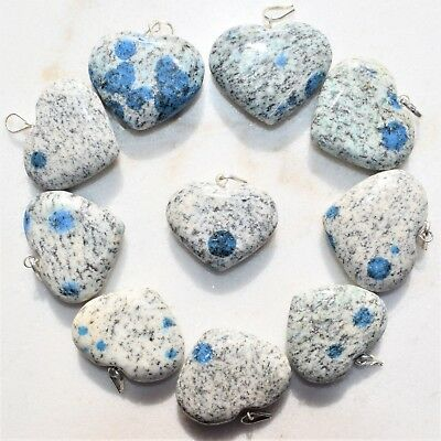"""CHARGED K2 Granite (Azurite) Crystal HEART Perfect Pendant™ + 20"""" Chain 3"""