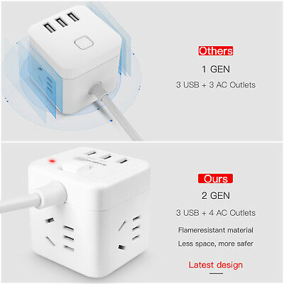 AU Cube Power Board Strip 3 USB+4 Socket Outlets Extension Cord Charger Charging 4