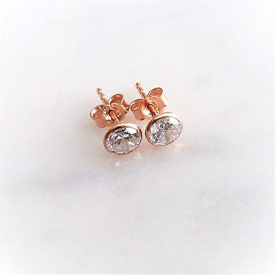 Damen Ohrstecker 925 Silber Rotgold Rose Gold Vergoldet Zirkonia 5.3mm Ohrringe