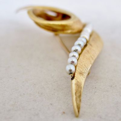 "2.85"" Vintage 14K Yellow Gold & White Pearl / Pearls Brooch Pin  (8.3 grams) 5"