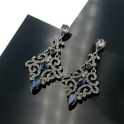 Boucles d/'Oreilles Clips Argenté Noir Art Deco Chandelier Bleu Marine Retro X10