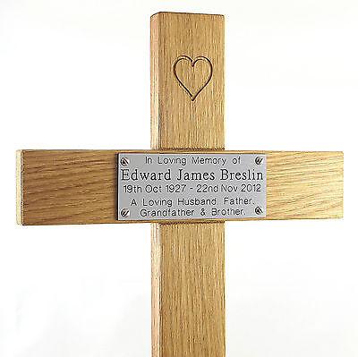 "24"" Carved Heart Oak Cross Memorial Grave Marker Custom Engraved Plaque Included 5"