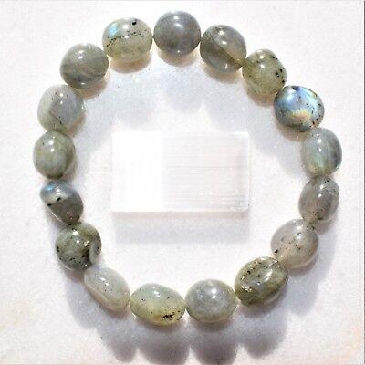 CHARGED Labradorite Crystal Bracelet Tumble Polished Stretchy ENERGY REIKI 6