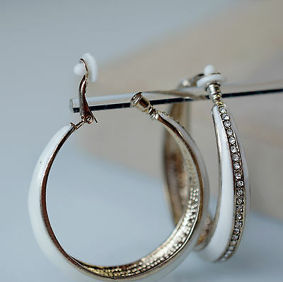 Boucles d'Oreilles Anneau Email Blanc Cristal Class Rétro Soirée Mariage M1 Jewellery & Watches