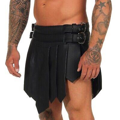 XS-XXXL*Gladiator Skirt Kilt  Schwarz 2 Gürtel & Schnallen Echt Leder Larp NEU 2