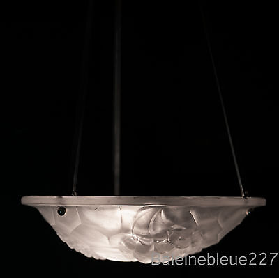 French Antique Art Deco Chandelier Signed Ros Modernist White Frosted Glass 2