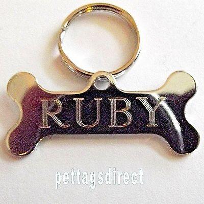 POLISHED DOG BONE Design Pet Id tag + 20mm Split Ring CLEAR Engraved FINISH 42mm 6