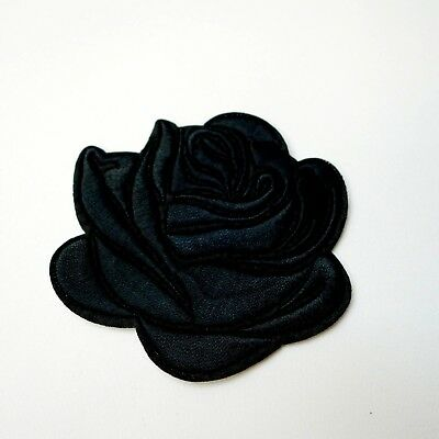 """Grey Rose Flower Embroidery Iron On Appliqué Patch #3817E 7 1//4/"""" Black,Silver"""