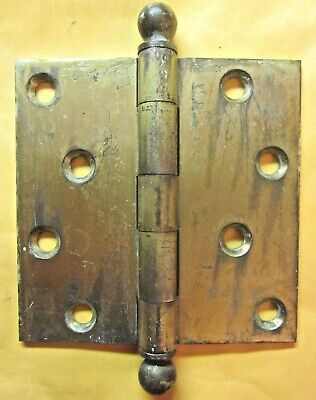 """1 Antique McKinney 4"""" Mortise Door Square Hinge Ball Tips Finials Brass Plated 4"""