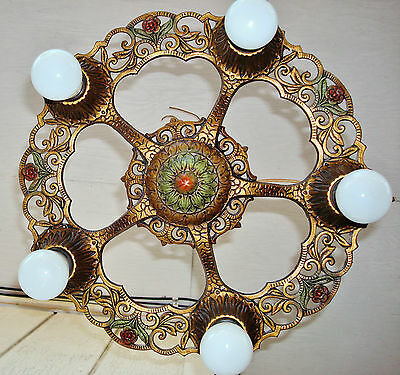 ORIGINAL 1930's VIRDEN Ceiling Light 5 Bulbs Art Nouveau Polychrome Chandelier 2