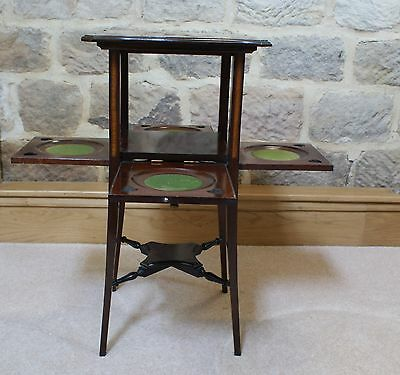 Antique Side Table Inlaid Mahogany Sweetheart Tapered Legs Fold Out Sides Rare 6