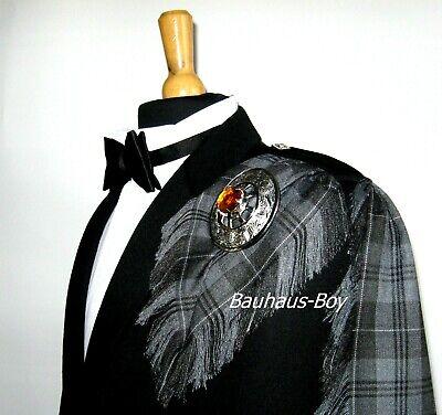 Fly Plaid Tartan Grey Granite Fringed Kilt Made In Scotland Highland Gents Wear 2