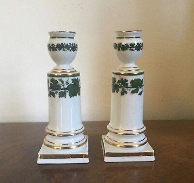 Pair Antique German Meissen Porcelain Candlesticks Green Napoleon Ivy Empire 3