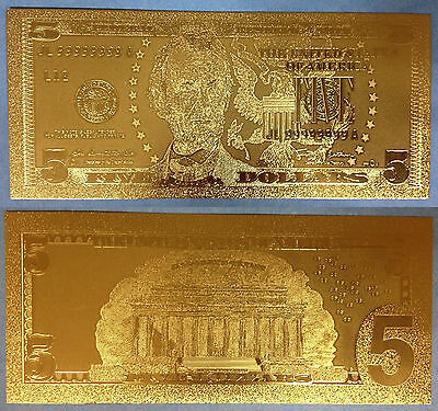 7* 24 KT  U.S.A GOLD BILLS $1-$2-$5-$10-$20-$50-$100 /&EACH IN  PVC BILL HOLDER