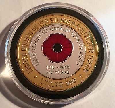 "2018 ""100 Years Of Armistice""  Poppy, Silver Stunner Coin, Limited to 500 C.O.A 4"