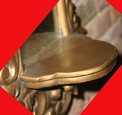Vintage Hollywood Regency Style Gold Gilded Plaster Wall Mirror With Shelf 6