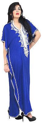 Moroccan Caftan Women kaftan Abaya Beach Cover Summer Long Dress Cotton Blue