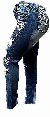 5765e7959ce9e ... WOMENS PLUS SIZE Ripped Distressed Patches BLUE Denim Jeans Patch  Stretch pants 5