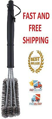"""BBQ Grill Brush Cleaner 18"""" Grilling Tool Cleaning Stainless Steel Woven Wire 2"""