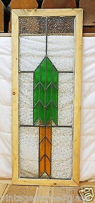 Tall Antique Stained Glass Window Green & Gold Arrow                      (2874) 4