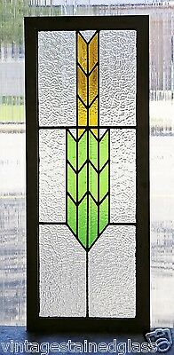 Tall Antique Stained Glass Window Green & Gold Arrow                      (2874) 3