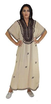 Moroccan Caftan Kaftan Women African Beach Summer Long Dress Butterfly Beige