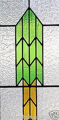 Tall Antique Stained Glass Window Green & Gold Arrow                      (2874) 2