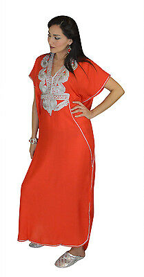 Moroccan Caftan Women kaftan Abaya Beach Cover Summer Long Dress Cotton Red