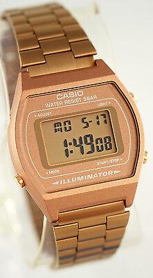 Casio Men's Rose Gold Stainless Steel Digital Flash Alert Watch B640WC-5A New 2