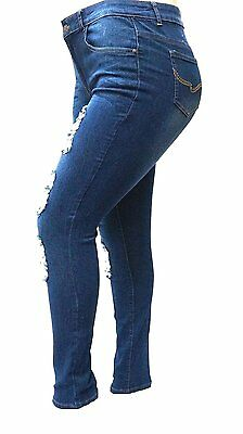 994a72022ec 1 of 7FREE Shipping SL 1826 WOMENS PLUS SIZE Stretch Distressed Ripped BLUE  SKINNY DENIM JEANS PANTS