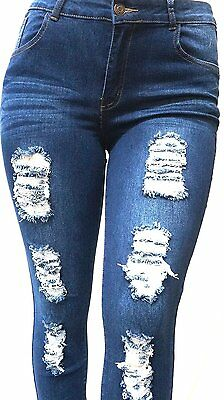7dde4689dd9a3 2 of 7 SL 1826 WOMENS PLUS SIZE Stretch Distressed Ripped BLUE SKINNY DENIM  JEANS PANTS