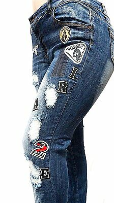 3fe45e1142c9f ... WOMENS PLUS SIZE Ripped Distressed Patches BLUE Denim Jeans Patch  Stretch pants 2