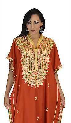 Moroccan Caftan Women kaftan Abaya Beach Cover Summer Long Dress Cotton Orange